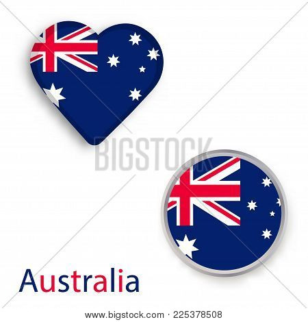 Heart and circle symbols with flag of Australia. Vector illustration
