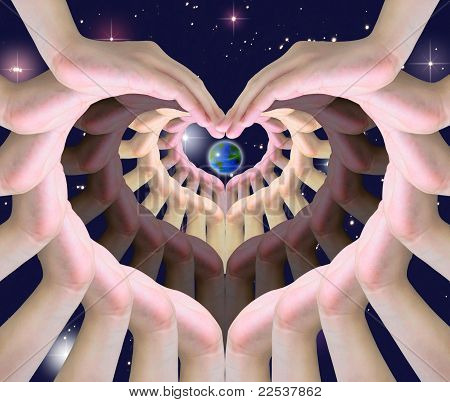 the world in humen hands making a symbol of love