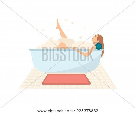 Smiling woman lying in bathtub full of soap foam. Happy female cartoon character taking bath and relaxing. Relaxation during hygienic or spa procedure. Colorful vector illustration in flat style