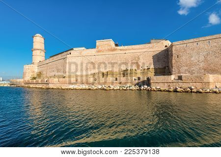 Marseille, France - December 4, 2016: View From The Sea To The Fort Saint-jean In Marseille, Provenc