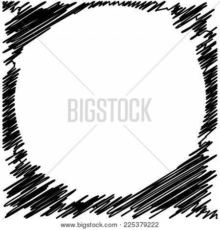 Circle Hatching Grunge Graphite Pencil Background On White Background, Design Element, Lines Hatchin