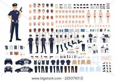 Policeman creation set or DIY kit. Collection of male police officer body parts, facial gestures, hairstyles, uniform, clothing and accessories isolated on white background. Vector illustration.