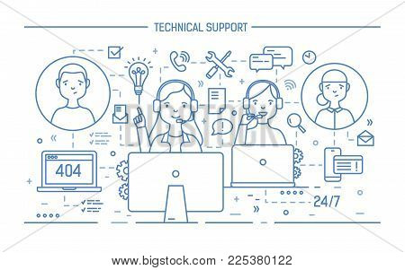 Friendly men and women wearing headphones with mics sitting at computers and answering questions. 24 hour call center, technical support service. Monochrome vector illustration in lineart style
