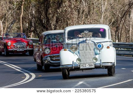 Adelaide, Australia - September 25, 2016: Vintage 1953 Mercedes Benz 170 S-D sedan driving on country roads near the town of Birdwood, South Australia.