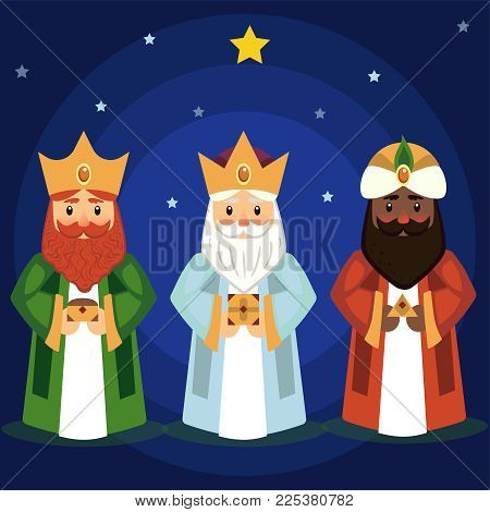 Vector Illustration Of The Three Wise Men Caspar,  Melchior And Balthasar Bring Gifts To Jesus On Ch
