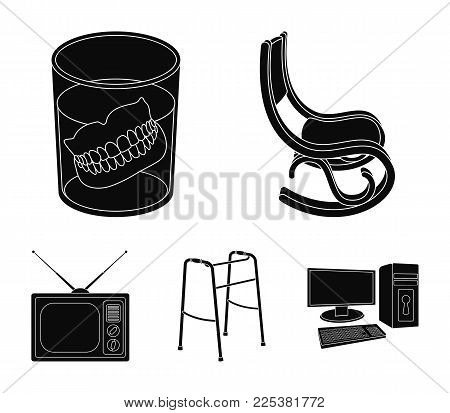 Denture, Rocking Chair, Walker, Old Tv.old Age Set Collection Icons In Black Style Vector Symbol Sto