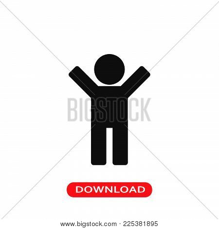 Man silhouette with raised arms icon vector in modern flat style for web, graphic and mobile design. Man silhouette with raised arms icon vector isolated on white background. Man silhouette with raised arms icon vector illustration, editable stroke and EP
