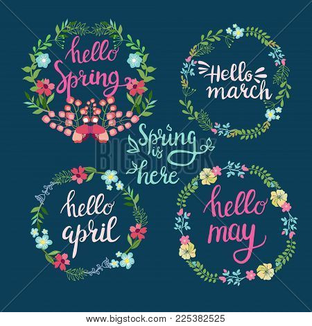 Hand drawn spring wreaths with text Hello spring, march, April, may lettering. Spring flowers with branches and leaves, spring time concept.