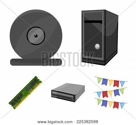 System Unit, Memory Card And Other Equipment. Personal Computer Set Collection Icons In Cartoon Styl