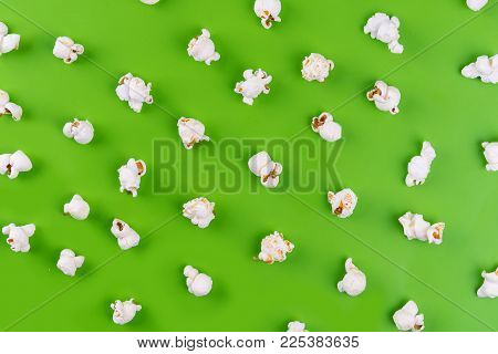 Popcorn Pattern On Green Background. Top View.
