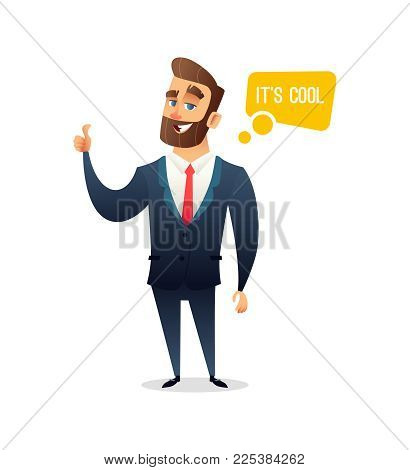 Successful beard businessman character gives thumb up. Successful man, Smile, finger agreement, say some. Business concept illustration.