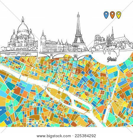 Paris Travel Sketches and Map, hand drawn outline illustration for print design and travel marketing