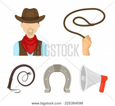 Hand Lasso, Cowboy, Horseshoe, Whip. Rodeo Set Collection Icons In Cartoon Style Vector Symbol Stock
