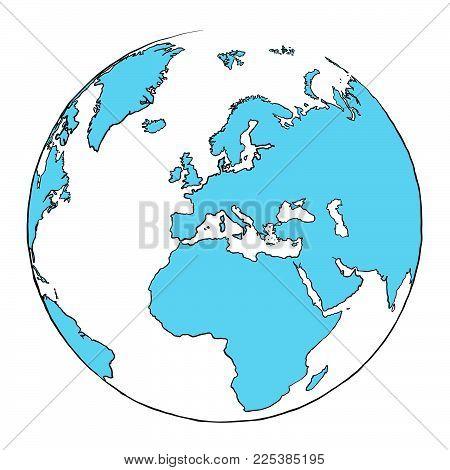 Outline Globe Focussed on Europe, hand drawn outline illustration for print design and travel marketing