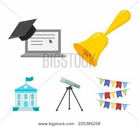 School Bell, Computer, Telescope And School Building. School Set Collection Icons In Cartoon Style V