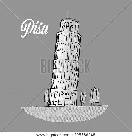 Pisa Tower Sketch, hand drawn outline illustration for print design and travel marketing
