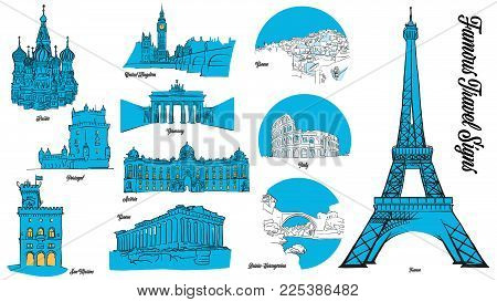 European Travel Landmarks Set. Hand drawn outline illustration for print design and travel marketing