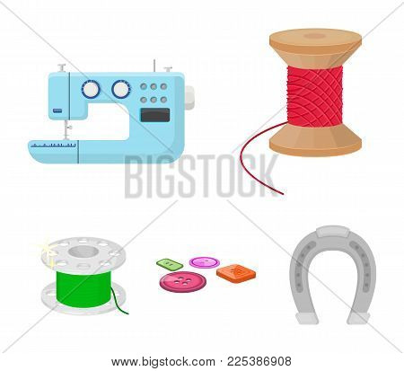 Thread reel, sewing machine, bobbin, pugwitz and other equipment. Sewing and equipment set collection icons in cartoon style vector symbol stock illustration .