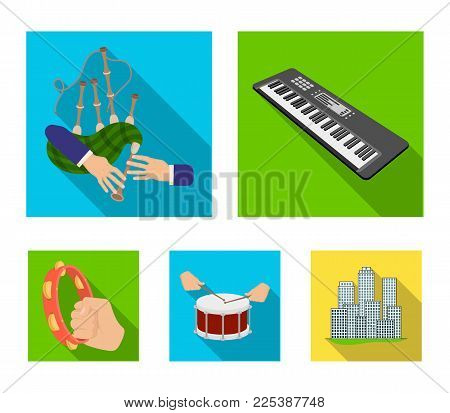 Synthesizer melodies, bagpipes Scotch and other  icon in flat style. drum, drum roll, tambourine in hand icons in set collection.