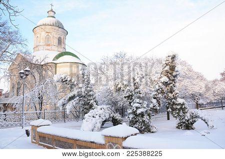 Old Greek Orthodox Church Of St John The Theologian  Coverd Snow In Winter In Nizhyn, Ukraine.
