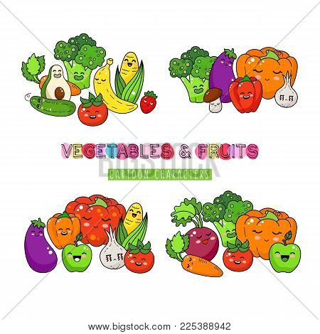 Healthy vegetable and fruits doodle. Happy food sticker, big collection. Carrot, tomato and broccoli.