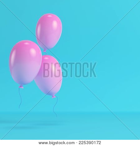 Pinkl balloons on bright blue background in pastel colors. Minimalism concept. 3d rendering