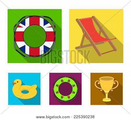 Multicolored swimming circle flat icons in set collection for design. Different lifebuoys vector symbol stock  illustration.