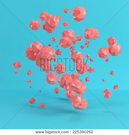 Red flying low poly spheres on bright blue background in pastel colors. Minimalism concept. 3d rendering