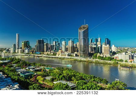 BRISBANE, AUSTRALIA - Dec 29 2016: Panoramic areal image of Brisbane CBD and South Bank. Brisbane is the capital of QLD and the third largest city in Australia