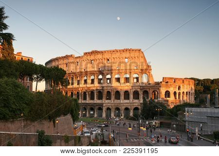 Summer. Italy. Rome. Evening view of the Colosseum