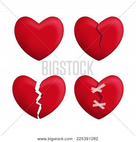 Realistic Detailed 3d Red Broken Hearts Set Icons Symbol of Pain and Love. Vector illustration of Icon Heart