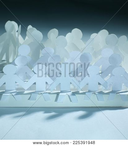 business concept.a large team of paper doll. photo with copy space