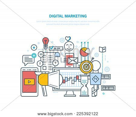 Digital marketing, media planning, social media and network, online business and purchasing, financial analysis and statistics, communications. Illustration thin line design.