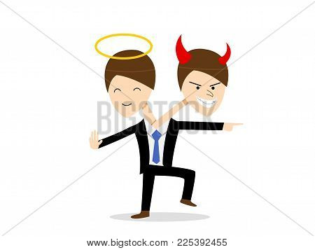 Good and Evil in same person, Bipolar Disorder, vector design