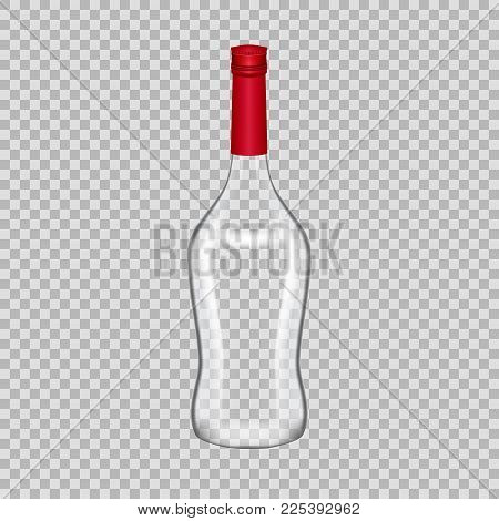 Realistic template of empty glass martini bottle with screw cap. Template, breadboard, glass package, mockup bottles of alcoholic beverage on a transparent background. Vector illustration.