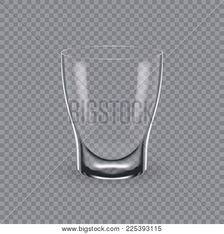 Realistic template of an empty transparent alcohol glass and mug. Template, glass package, mockup, layout, breadboard, empty glass, mugs, for drink cognac. Vector illustration isolated.