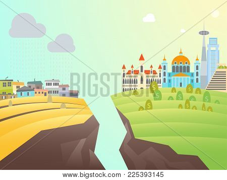 Cartoon Poverty and Richness Card Poster District Architecture Concept Flat Design Style. Vector illustration of Rich or Poor