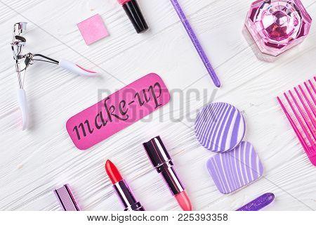 Make Up Objects On Wooden Background. Make-up Products And Accessories On Wooden Background, Flat La