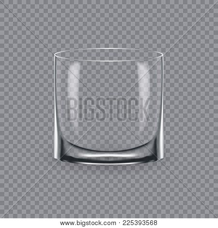 Realistic template of an empty transparent alcohol glass and mug. Template, glass package, mockup, layout, breadboard, empty glass, mugs, for drink whiskey. Vector illustration isolated.