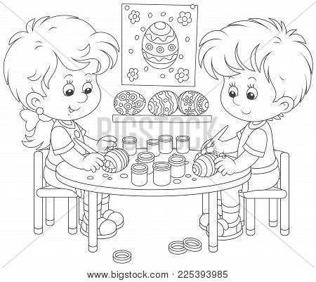 Little children painting Easter eggs to the holiday, a black and white vector illustration in cartoon style for a coloring book