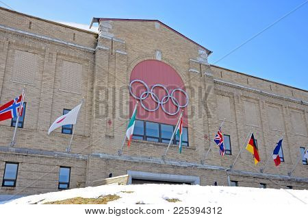 LAKE PLACID, NY, USA - MAR. 20, 2011: Olympic Center on Main Street in village of Lake Placid, New York, USA. This arena hosted various events during the 1932 and 1980 Winter Olympic Games.