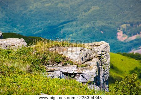 Giant Boulders On Grassy Slopes Of Polonina Runa. Beautiful Summer Scenery In Carpathian Mountains W