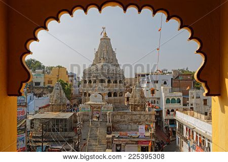 UDAIPUR, INDIA, November 4, 2017 : Jagdish Temple, large Hindu temple in the middle of Udaipur. The temple has been in continuous worship since 1651.
