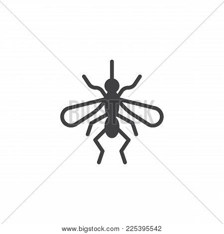 Mosquito Icon Vector, Filled Flat Sign, Solid Pictogram Isolated On White. Gnat Symbol, Logo Illustr