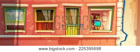 Vector Cartoon Illustration Of House Facade Element, Multistoried Building, City Apartments, Outside