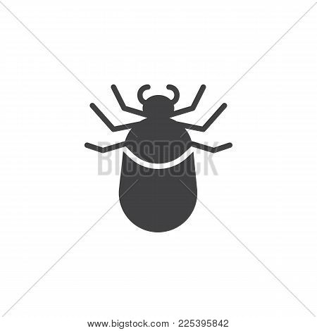 Tick Animal Icon Vector, Filled Flat Sign, Solid Pictogram Isolated On White. Mite Symbol, Logo Illu