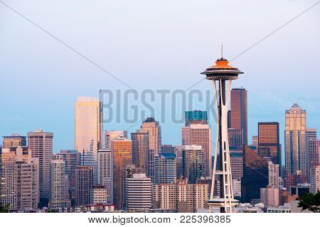 Skyline Of  Downtown Seattle At Dusk, Washington State