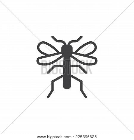 Mosquito Insect Icon Vector, Filled Flat Sign, Solid Pictogram Isolated On White. Symbol, Logo Illus