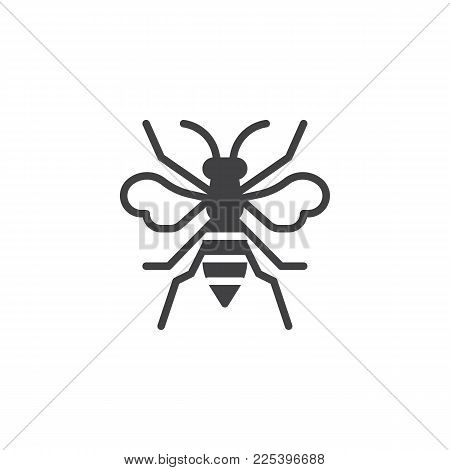 Wasp Insect Icon Vector, Filled Flat Sign, Solid Pictogram Isolated On White. Bumblebee Symbol, Logo
