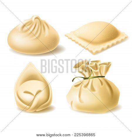 Set Of Different Dumplings, Wonton, Tortellini, Khinkali, Ravioli, Vector Realistic Illustration Iso